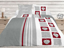 Housse de couette 220 x 240 Sweet Home gris + 2 taies - Neuf