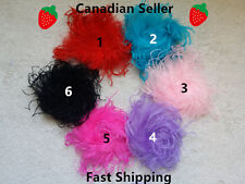 NEW!! 6 Colors Curly Ostrich Feather flower Puff Hair Clip Brooch Lapel Pin