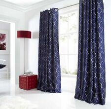Pair of Navy Blue Midtown Embroidered Faux Silk Fully Lined Eyelet Curtains
