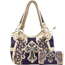 Justin West Rhinestone Cross Embroidery Studs Conceal Carry Handbag Purse Tote