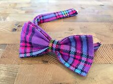 Purple Tartan Bow Tie & Pocket Square- Handmade Gifts For Him, Wedding Bow Tie,