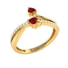 0.35 ct Real Red Ruby & Certified Diamond Solid Gold Double Heart Promise Ring