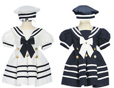 Infant Toddler Girls Sailor dress, Navy Blue/White  6 month to 24 month