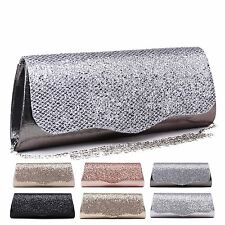 LADIES NEW EVENING SHIMMER CLUTCH SMALL PURSE GLAM PROM SHOULDER BAG