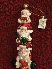 Stacking Santa Claus Glass Christmas Ornament By Living Quarters NWT