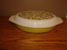 Vintage Divided Casserole PYREX Ovenware VERDE Green USA MADE 1 1/2 Quart