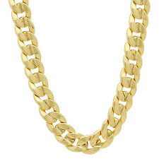 9mm 14k Gold Plated Pressed Cuban Link Curb Chain Necklace