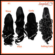 PONYTAIL JET Black #1 Curly Wavy Flick Falling Curls Clip in on Hair Extension