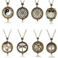 Vintage chain necklace with round pendant & sliding reading magnifying glass