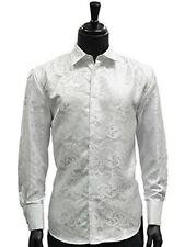 Manzini White Jaquard Paisley French Cuff Trendy Dress Button Down Mens Shirt