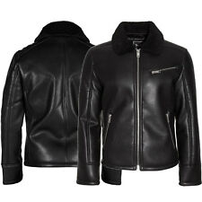 Mens Brave Soul Hector Faux Leather Fur Lined Biker Jacket Size S- XL