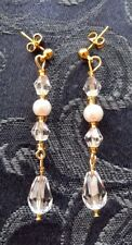 PEARL & CRYSTAL DROP EARRINGS, BRIDAL PEARL COLOUR WHITE or IVORY,NEW,AUSTRALIAN