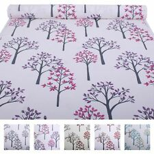 Bright Summer Floral Woodland Tree Leaves Spring Flowers Cotton Curtain Fabric