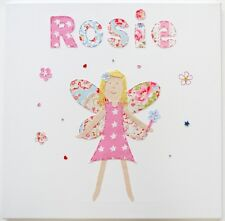 Girls Nursery Wall Art canvas picture pink fairy bedroom decor applique print
