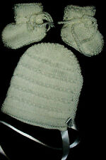 WHITE BONNET or BEANIE and BOOTEES SET HAND KNITTED BRAND NEW