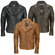 Mens Real Leather Biker Jacket Motorcycle Vintage Antique Black Brown Rust Tan