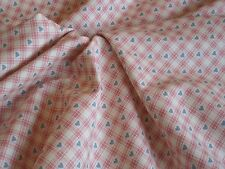 SALE Fat Quarter, Half Metre and Metre Pink Check Blue Hearts Fabric 100% cotton