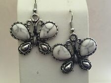 Earrings Butterfly Antique Silver Tone w Crystal and Black or White Wings E259