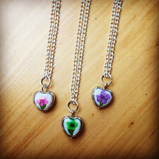 Pressed Flower Heart Pendant Pretty Quirky Charm Necklace Kitsch