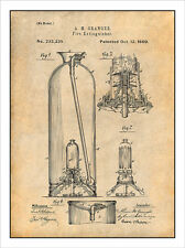 1890 Granger Fire Extinguisher Patent Print Art Drawing Poster 18X24