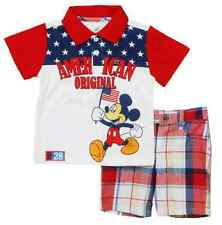 "Disney Infant Boys Mickey Mouse ""American Original"" 2 Piece Short Set"