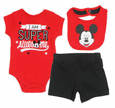 "Disney Mickey Mouse Newborn Infants ""Super Awesome"" 3 Piece  Set with  Bib"