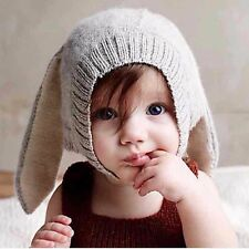 Girls Boys Crochet Earflap Beanie Hat Baby Kids Warm Rabbit Ear Soft Newborn Cap