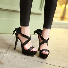 New Women Lace Ups Synthetic Leather Sweet Bowtie Sandals High Heels Shoes  AU