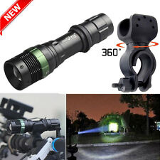 6000lm T6 LED Zoomable Flashlight Torch Lamp 18650 + Bike Bicycle 360°Mount Clip