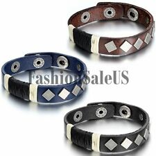 Men's Punk Rock Square Rivet Charm Leather Bracelet Bangle Wristband Cuff Straps