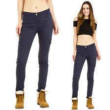 New Womens Ladies Blue Mid Rise Slim Skinny Stretch Combat Trousers Cargo Pants