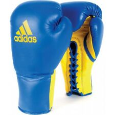 NEW adidas Boxing Leather PRO Glory Lace Gloves Professional Boxing Gloves-BLUE
