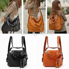 Lady Girls PU Leather Tassel Shoulder Messenger Bag Satchel Handbag Backpack AU