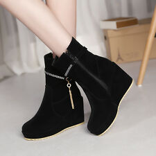 Womens Korea Fashion Wedges Heels Side Zipper Faux Suede Ankle Boots Shoes AU