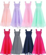 Pageant Flower Girls Dress Chiffon Formal Wedding Bridesmaid Party Long Gown
