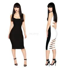 Sexy Women Bandage Bodycon Dress Solid Black Club Party Cocktail Open Back Dress