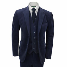 New Mens 3 Piece Suit Blue Vintage Corduroy Slim Fit Blazer Waistcoat Trousers