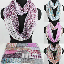 Fashion Women Floral Flower Dot Infinity Polyester Loop Cowl Circle Scarf Shawl