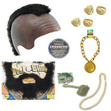 A Team Mens Fancy Dress 80's Gold Bling Mr T BA Baracus Mohawk Beard Ring Chain