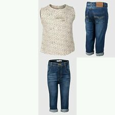Baby Girls Denim Jeans & Sleeveless Top Outfit. Age 9 12 18 24 Months