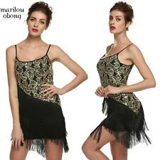 Women O-Neck Sleeveless Strap Sequin Tassel Party Cocktail Dress - S,M,L,XL MABN