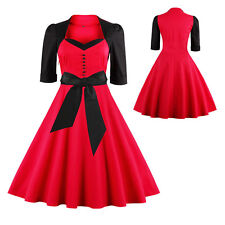 50'S 60'S ROCKABILLY DRESS Vintage Swing Pinup Retro Housewife Party Bow Dress