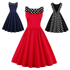 50s 60s Vintage Swing Rockabilly Housewife Maid Pinup Party Prom Dress Polka Dot