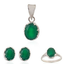 Green Onyx Real Gemstones Sterling Silver Earring, Ring & Pendant Set for Women