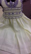 baby dress by pretty originals smocked bnwt linen/cott mix 18mths -4 yrs