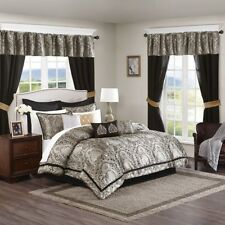 24pc Black & Gold Damask Comforter Set, Sheets, Pillows, Curtains AND More
