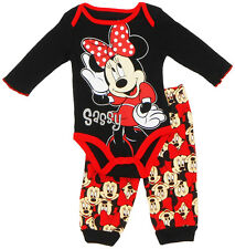Disney Newborn Infant Girls Minnie Mouse 2-Piece Creeper Pant Set