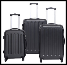 "Luggage 3pc Suitcase Set Black Travel Hard Case 4 Wheel Trolley PC 20"" 24"" 28"""
