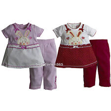 New Baby Girls Easter Bunny Outfit 2 pc set Shirt & legging Size 3 6 9 12 months