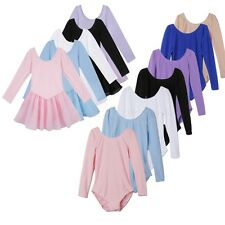 Kid Child Girl Long Sleeve Dance Leotard Dress Stretch Ballet Dancer Costume Top